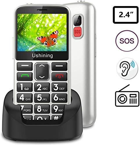 Ukuu Seniorenhandy ohne Vertrag mit großen Tasten 2,3 Zoll GSM Tastenhandy Dual SIM Handy SOS Notruftaste Ladestation und Kamera Mobiltelefon 1000 mAh Akku Lange Standby-Zeit, Weiß