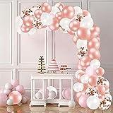 Bellatoi 123Pcs Kit Ghirlanda Palloncino Kit Arco Palloncini Oro rosa cipria bianco per Compleanno Sfondo di Nozze Decorazione per Feste