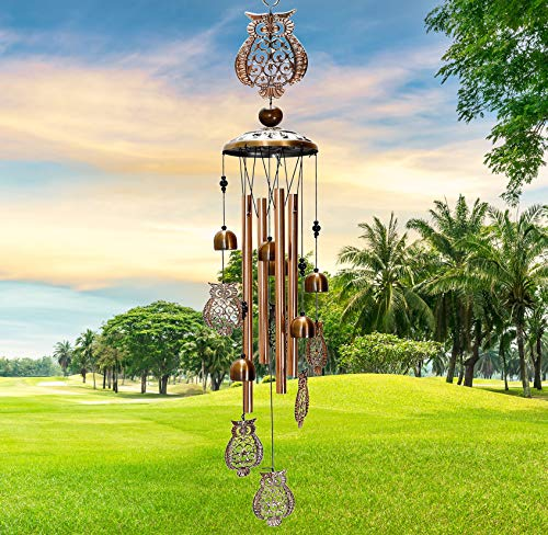 WOGOON Wind Chimes Outdoor Decor Personalized Outside Large Copper Sympathy Hanging Owl Wind Chime Housewarming Gifts Aluminum Tubes Memorial Bell Chimes for Garden Home Yard Patio Decorations…