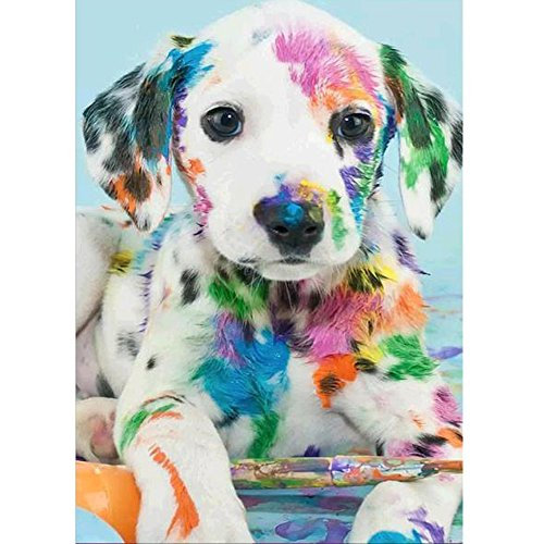 MXJSUA DIY Diamond Painting by Number Kits Round Drill Rhinestone Pictures Arts Craft Home Wall Decor Dalmatian Dog 12x16In
