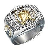 Sping Jewelry - Anillo de Acero Inoxidable para Hombre, diseño de Caballo de la Suerte