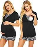Ekouaer Womens Maternity Nursing Pajamas Shorts Set Stripe Ultra Soft Pregnancy Breastfeeding Sleepwear (S-XXL)