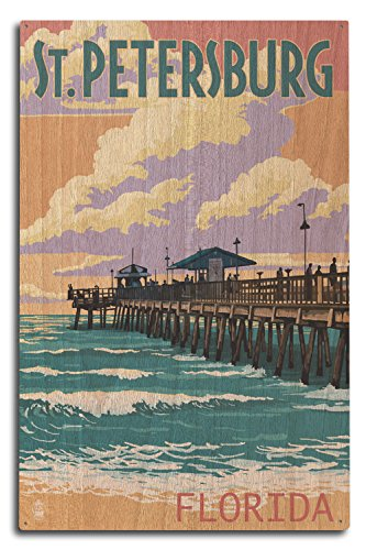 Lantern Press St Petersburg, Florida - Pier and Sunset (10x15 Wood Wall Sign, Wall Decor Ready to Hang)