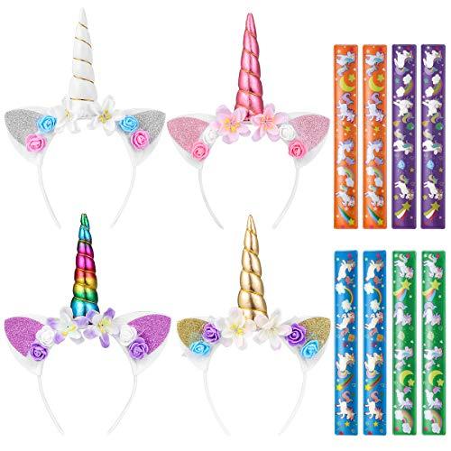 TOYMYTOY Einhorn Stirnband Einhorn Party Supplies, 4Pack Einhorn Horn Stirnbänder und 8PCS Einhorn Slap Armbänder für Kinder Einhorn Geburtstag Halloween Party Favors Supplies