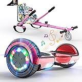SOUTHERN WOLF Hoverboard con Silla, Patinete eléctrico con Luces LED, Patinete autoequilibrado de 2x350 W con Altavoz Bluetooth, Incluye Kart, niños