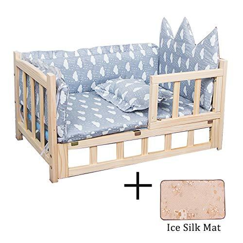 Erhöhtes Haustierbett Hundebett mit Treppe und Leitplanke, Orthopädisches Holzbett Tragbares Haustierbett für Große Mittelgroße Kleine Hunde, Waschbare Matte×2 (Size : 75×40×42cm)