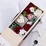 GIGA GUD Soap Rose Flower w. Candle in Gift Box, Gift for Her Luxury...