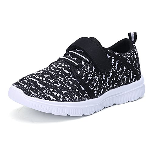 KALEIDO Kids Lightweight Breathable Sneakers Easy Walk Casual Sport Shoes for Boys Girls, Black, 8.5 Toddler