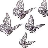 AIEX 24 Piezas Adornos De Mariposas 3D Pegatinas Extraíbles De Vivo Con 3 Tamaños Diferentes, Para Calcomanías De Pared, Adornos De Habitación De Niños, Decoración De Fiesta De Boda (Gris Oscuro)