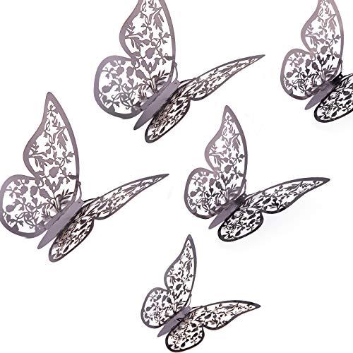 AIEX 24 Pezzi Ornamenti di Farfalle 3D Adesivi Rimovibili con 3 Diverse Dimensioni, per Decalcomanie da Muro, Ornamenti per Camerette, Decorazioni per Feste di Matrimonio (Grigio Scuro)