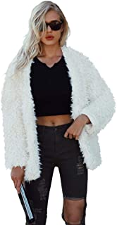 Comeon Women Long Sleeve Fluffy Fuzzy Faux Fur Coat Open Front Cardigan Jacket Coat Shaggy Shearling Parka