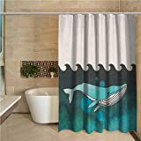 Farmhouse Shower Curtain Whale Huge Whale Swimming Under The Ocean Near an Palm Island with Wooden Skull Art Green and Blue W72 xL78