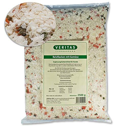 veritas Reisflocken mit Gemüse für Hunde I Ergänzungsfutter aus Reis Flocken und Trockengemüse I Hundeflocken Flockenfutter zum Mischen I Naturprodukt ohne Zusätze (2,5 kg)