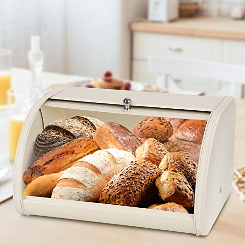 Metal Bread Boxes, Bread Box Storage Bin Kitchen Container with Roll Top Lid Iron Countertop Containers Metal Food Storage Bread Keeper Large Capacity Home Kitchen Counter (Beige)