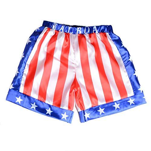 Children Costume Classic Movie Apollo Boxing American Flag Shorts Trunks Italian Stallion Boxers (Apollo Flag, L)