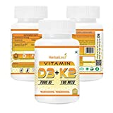 HerbalLeaf Vitamin d3 7000iu with Vitamin K2 MK7 100mcg High Potency Supplement Supports