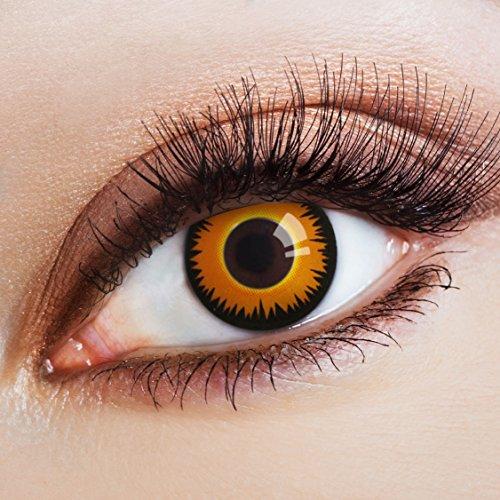aricona Kontaktlinsen Farblinsen - Orange Kontaktlinsen mit schwarzem Rand - Farbige Kontaktlinsen ohne Stärke für Halloween, Karneval, Fasching und Motto-Partys, 2 Stück