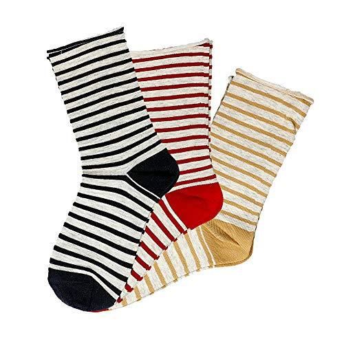 Sympatico Damen 21929 Socken 3er-Pack Stretch Gestreift Rollrand Baumwolle Mode, Groesse 35/38, 1x marine/1x rot/1x gelb