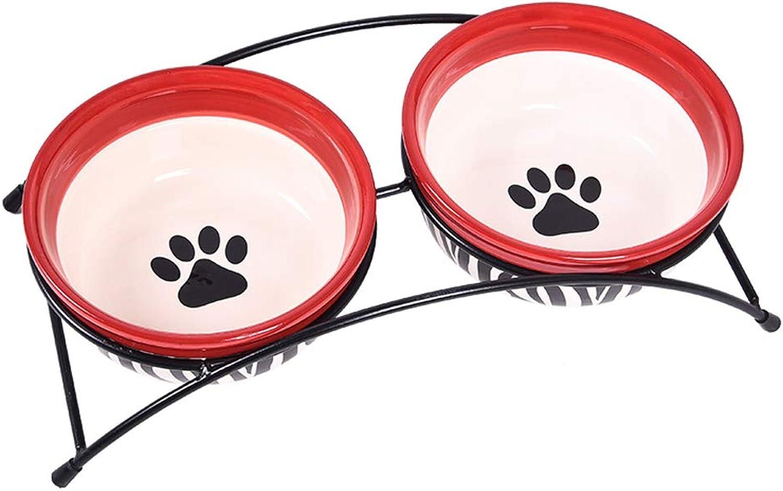 CXQ Dog Bowl Cat Bowl Drinking Water Bowl Iron Frame Double Ceramic Bowl Cat Food Dog Food Bowl Pet Supplies