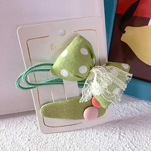 Vide 2 pièces ensemble Élégant Bandeau cheveux corde Dentelle couleur nœud Elasticité Fille enfant Accessoires Cheveux -vert