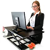 Standing Sit and Stand Up Desk - Easy Height Adjustable Table Jack Desk Converter with Huge 32' x 22' Instantly Convert any Variable Portable Computer Monitors for Work Home by Elevating in Seconds