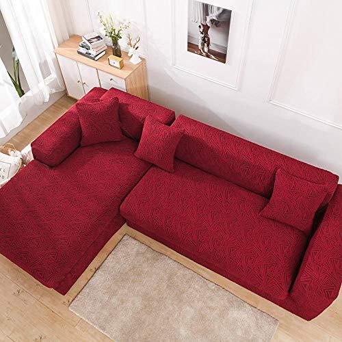 Funda de sofá Lavable Fundas de sofá para Sala de Estar Serie Jacquard en Relieve Protector de Muebles elásticos-Carmine_3_peoplesosition:190-230cm