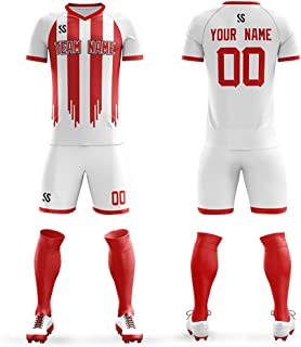Custom Socce Jerseys Uniforms Men Outfits V-Neck Personalized Your Own Team Football Jersey Set Drit-Fit