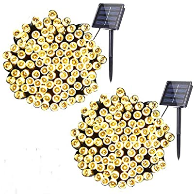 woohaha Solar Fairy String Lights Outdoor Waterproof, 2 Pack 33ft 100LED Solar Powered String Lights for Christmas Patio Home, Wedding, Party (100LED 2pcs, Warm White)