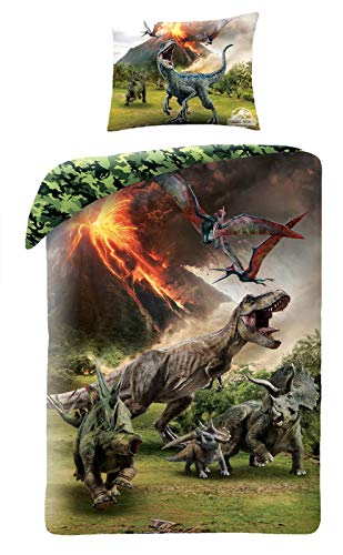 Top Brands - Juego de Funda nórdica, edredón de Jurassic World Mundo Jurásico Dinosaurio T-Rex, para Cama de 140x200cm, 100% algodón, Ropa de Cama