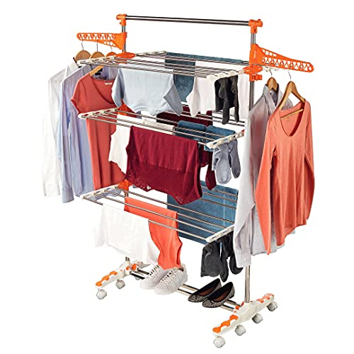 Captelec - Tendedero de ropa plegable, 3niveles, ruedas, 2ganchos para perchas, 48 pinzas