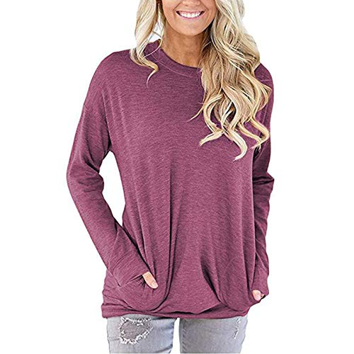 Autumn and Winter Women's Casual Sweater Solid Color Loose Round Neck Pocket Long Sleeve T-Shirt Fuchsia