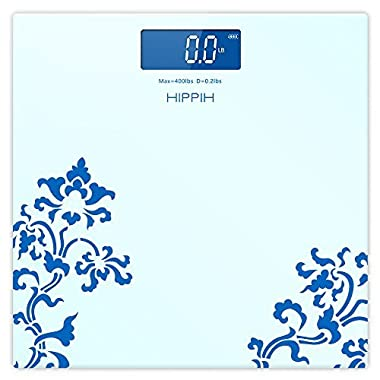 Hippih Digital Body Weight Bathroom Scale with Step-On Technology 400 Pounds, Tempered Glass, Digital Weight Scale Backlit LCD Display D-016