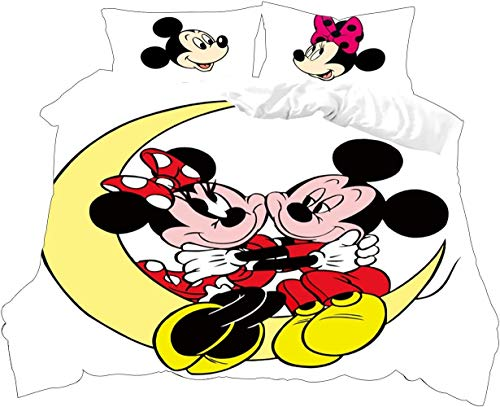 RITIOA Juego de funda de edredón doble para niños, diseño de Mickey Mouse, con cierre de cremallera, fácil cuidado y diseño de microfibra supersuave, funda de edredón doble + 2 fundas de almohada