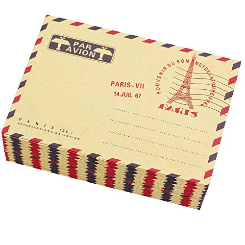 Bolbove Set of 50 AirMail Vintage Style Kraft Paper Postcard Letter Envelopes Invitations (Eiffel Tower)