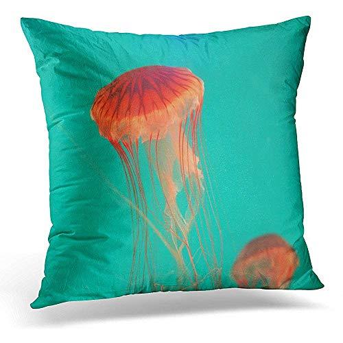 Egoa Kussensloop Aquatic Animal Red Jellyfish in The Light Green Sea Water Aquarium Creature Decoratieve Kussensloop Huisdecoratie Vierkant 45X45cm Kussensloop