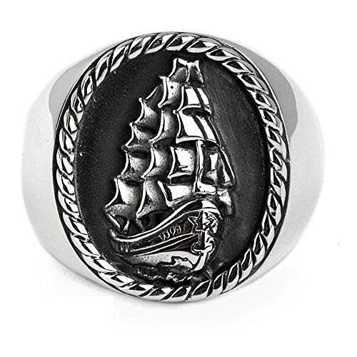 Ring Segelschiff Dreimaster 925 Sterling Silber Herrenring (58 (18.5))