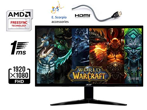 Acer Gaming Monitor 23.6' KG241Q bmiix 1920 x 1080 1ms Response Time AMD FREESYNC Technology (2 x HDMI & VGA Ports),Black