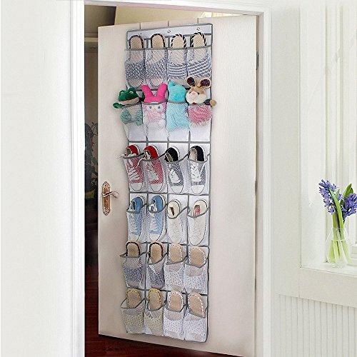 Porta-scarpe, borsa da appendere per scarpe in rete di nylon sopra la porta, pieghevole, organizer con ganci 24 tasche, bianco