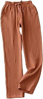 Mens Spring Summer Crepe Pajama Bottoms Cotton Loose Sleepwear Drawstring Pajama Pants with Pockets, Dark Orange