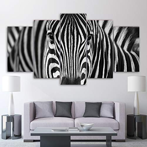 POLLKK 5 Paneles HD Imprime Lienzo Hogar Pared Arte Decoración Cuadros Cebra Blanco Y Negro Pinturas para Sala De Estar Animal Carteles