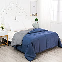 YGJT Lightweight Solid Blanket Queen Goose Down Alternative Set Ultra Soft All Seasons Comforter Duvet-Navy Grey Machine Washable, Dark Blue/Grey2