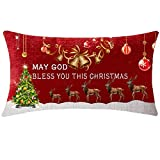 NIDITW Happy Holidays Birthday Gift May God Bless You This Christmas Deer Jingle Bells Body Waist Lumbar Red Cotton Linen Throw Pillow case Cushion Cover Sofa Chair Decorative Oblong Long 12x20 Inches
