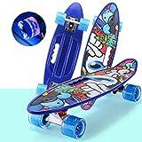 NMDD Penny Board Plastique Pastel 24 Pouces Enfant Rétro Mini Cruiser Débutant Skateboard, Teens Boy Kids Girl LED Light Up...