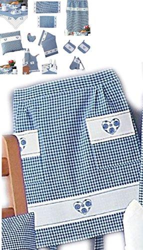 Halbschürze - blau - weiß kariert Stickerei - Herz -