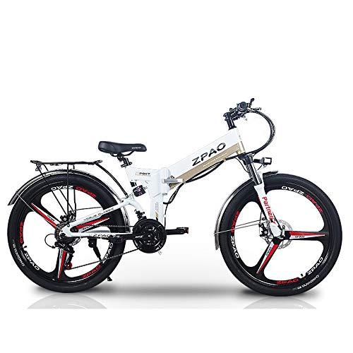 ZPAO KB26 21 Biciclette elettriche Pieghevoli, 48V 10.4Ah Batteria al Litio, 350 W 26 Pollici Mountain Bike, 5 Livelli di Assistenza al Pedale, Forcella di Sospensione (Bianco, Standard)