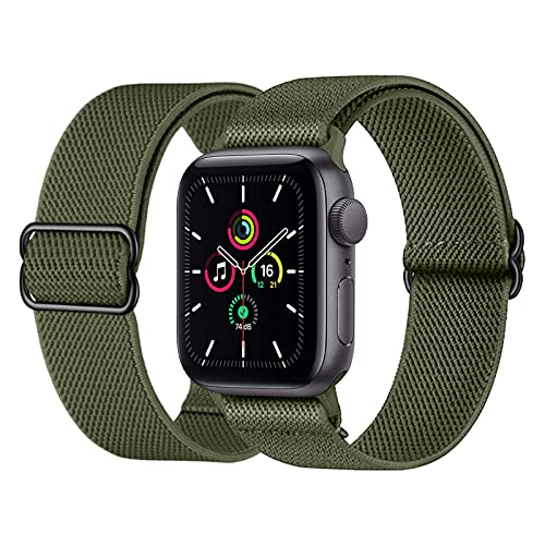 Supore Apple Watch Correa Compatible con Apple Watch 44mm 40mm 38mm 42mm, Pulseras de Repuesto de Nylon Correa para iWatch Series 7 6 5 4 3 2 1 / Apple Watch SE, Mujer y Hombre -42mm/44mm-VerdeOliva