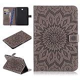 Galaxy Tab A 8.0 Funda,Careynoce Pattern PU Cuero Cover Stand Flip Protector Funda Carcasa Case Cover para Samsung Galaxy Tab A (8.0 pulgada) SM-T350 - Sol Flor(Gris)