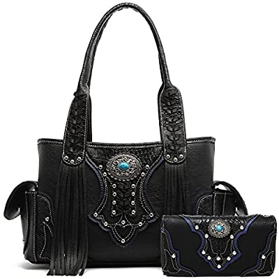 Western Style Cowgirl Fringe Concealed Purse Conchos Totes Country Women Handbag Shoulder Bags Wallet Set (2 Black Set)