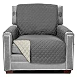 Sofa Shield Original Patent Pending Reversible Chair Protector, Many Colors, Width up to 23 Inch, Furniture Slipcover, 2 Inch Strap, Chairs Slip Cover Throw for Pets, Dogs, Armchair, Charcoal Linen
