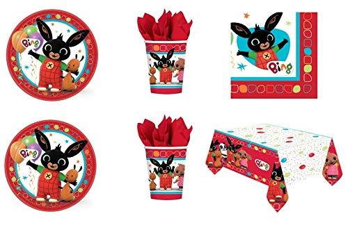 Party Store web by casa dolce casa Bing Coordinato ADDOBBI Festa - Kit n°7 CDC-(16 Piatti 23 CM,16 Bicchieri, 16 TOVAGLIOLI,1 TOVAGLIA)